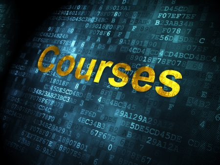 Education concept: pixelated words Courses on digital background, 3d render photo