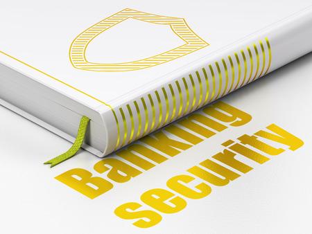 contoured: Concepto de protecci�n: Libro cerrado con el oro contorneada Shield icono y texto de Seguridad Bancaria en el piso, fondo blanco, 3d Foto de archivo