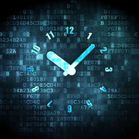 Timeline concept: pixelated Clock icon on digital background, 3d render photo