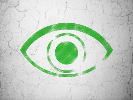 eye green: Concepto de protecci�n: Ojo verde sobre fondo de pared de hormig�n de textura, 3d