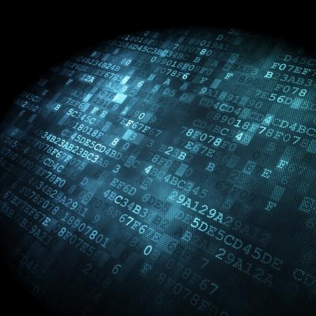 技術概念: 16 進数コード デジタル背景、3 D のレンダリング