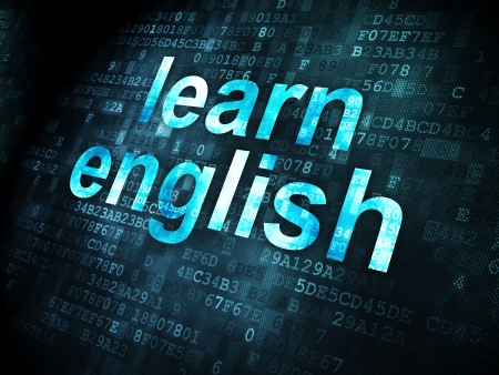 distance education: Education concept: pixelated words Learn English on digital background, 3d render Stock Photo