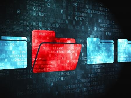 Finance concept: pixélisée icône de dossier sur fond numérique, rendu 3d Banque d'images - 23940626