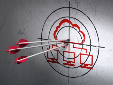 Success cloud networking concept: arrows hitting the center of Red Cloud Network target on wall background, 3d render photo