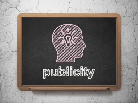 publicity: Marketing concept: Head With Light Bulb icon and text Publicity on Black chalkboard on grunge wall background, 3d render