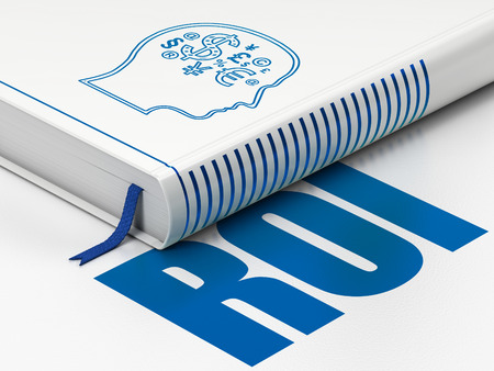 Finance concept: closed book with Blue Head With Finance Symbol icon and text  ROI on floor, white background, 3d render photo