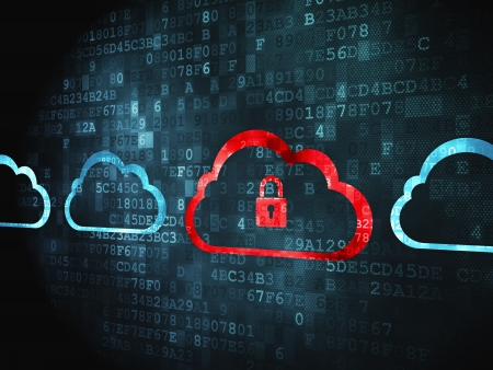 Cloud networking concept: pixelated Cloud With Padlock icon on digital background, 3d render photo