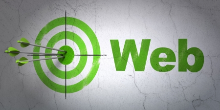 Success web development concept: arrows hitting the center of target, Green Web on wall background, 3d render photo