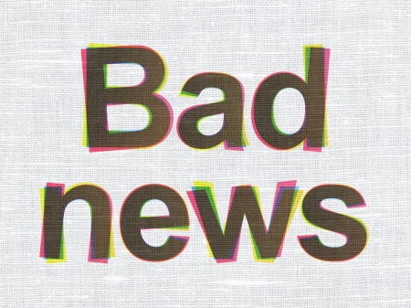 News concept: CMYK Bad News on linen fabric texture background, 3d render photo