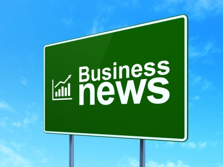News concept: Business News and Growth Graph icon on green road (highway) sign, clear blue sky background, 3d render photo
