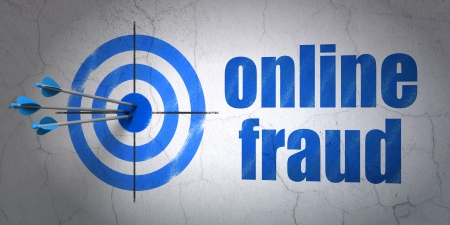 online privacy: Success privacy concept: arrows hitting the center of target, Blue Online Fraud on wall background, 3d render