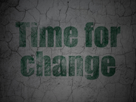 Time concept: Green Time for Change on grunge textured concrete wall background, 3d render photo