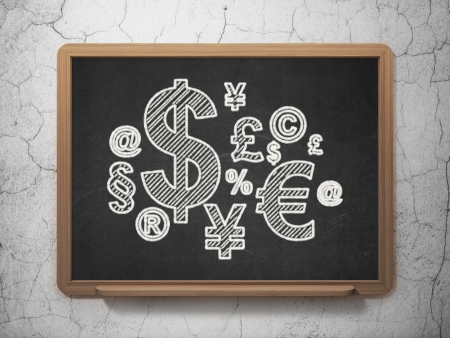 Advertising concept: Finance Symbol icon on Black chalkboard on grunge wall background, 3d render photo