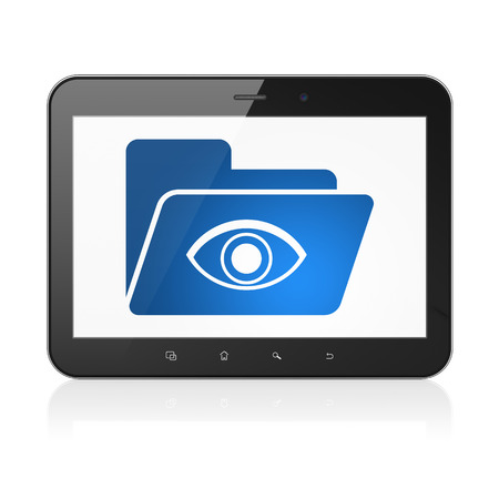 eye pad: Finance concept: black tablet pc computer with Folder With Eye icon on display. Modern portable touch pad on White background, 3d render