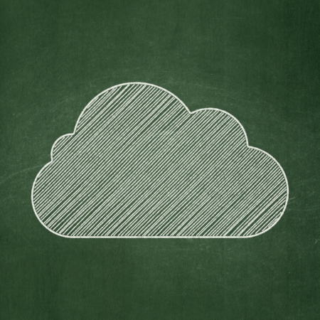 Cloud networking concept: Cloud icon on Green chalkboard background, 3d render photo