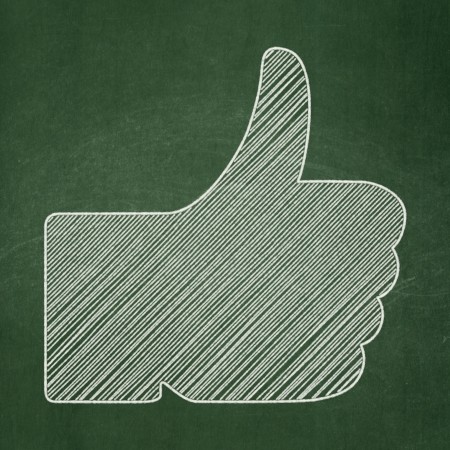 Social media concept: Thumb Up icon on Green chalkboard background, 3d render photo