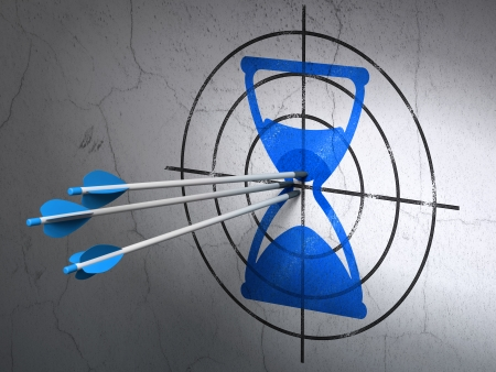Success timeline concept: arrows hitting the center of Blue Hourglass target on wall background, 3d render photo
