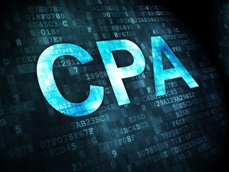 Business-Konzept: pixelig Worte CPA auf digitale Hintergrund, 3d render