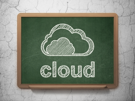 Cloud networking concept: Cloud icon and text Cloud on Green chalkboard on grunge wall background, 3d render photo