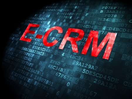 ecrm: Business concept: pixelated words E-CRM on digital background, 3d render