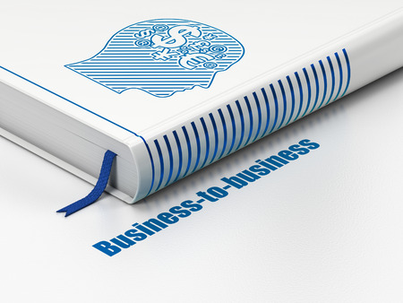 Finance concept: closed book with Blue Head With Finance Symbol icon and text Business-to-business on floor, white background, 3d render photo