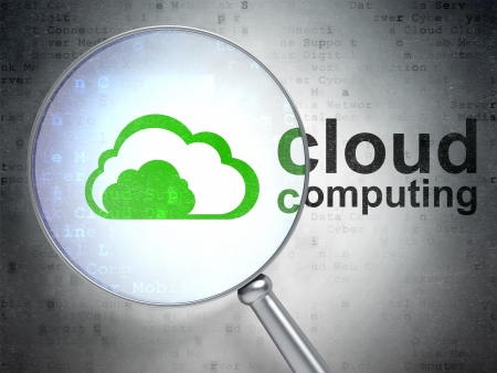 Cloud technology concept: magnifying optical glass with Cloud icon and Cloud Computing word on digital background, 3d render photo