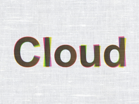 Cloud technology concept: CMYK Cloud on linen fabric texture background, 3d render photo