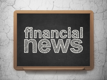 News concept: text Financial News on Black chalkboard on grunge wall background, 3d render photo