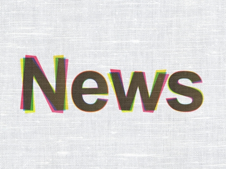 News concept: CMYK News on linen fabric texture background, 3d render photo