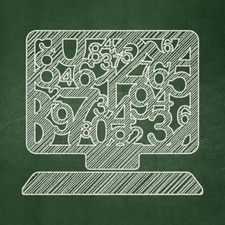 Education concept: Computer Pc icon on Green chalkboard background, 3d render photo