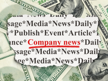 News concept: torn newspaper with words Company News on Money background, 3d render photo