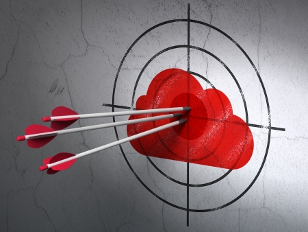 Success cloud computing concept: arrows hitting the center of Red Cloud target on wall background, 3d render photo