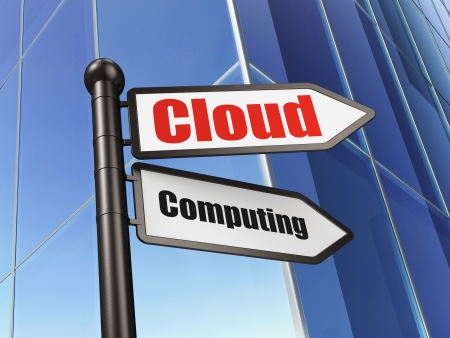 Cloud technology concept: sign Cloud Computing on Building background, 3d render photo