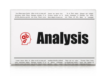 Marketing concept: newspaper headline Analysis and Head With Gears icon on White background, 3d render photo
