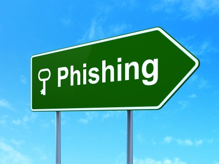 Safety concept: Phishing and Key icon on green road (highway) sign, clear blue sky background, 3d render photo