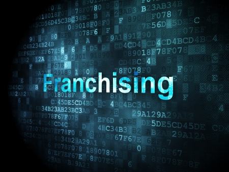 franchising: Finance concept: pixelated words Franchising on digital background, 3d render Stock Photo