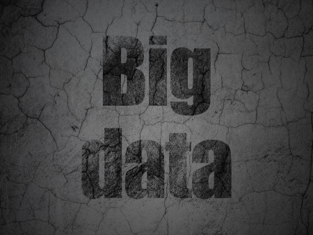Data concept: Black Big Data on grunge textured concrete wall background, 3d render photo
