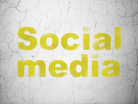 microblog: Social media concept: Yellow Social Media on textured concrete wall background, 3d render Stock Photo