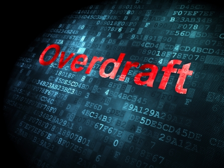 overdraft: Business concept: pixelated words Overdraft on digital background, 3d render Stock Photo