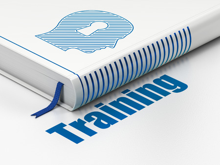 Education concept: closed book with Blue Head With Keyhole icon and text Training on floor, white background, 3d render photo