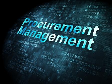 事業コンセプト: デジタル背景、3 d のレンダリングにピクセル化された言葉の調達管理