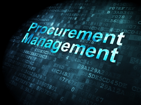 Business concept: pixelated words Procurement Management on digital background, 3d render