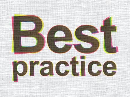 best practice: Education concept: CMYK Best Practice on linen fabric texture background, 3d render