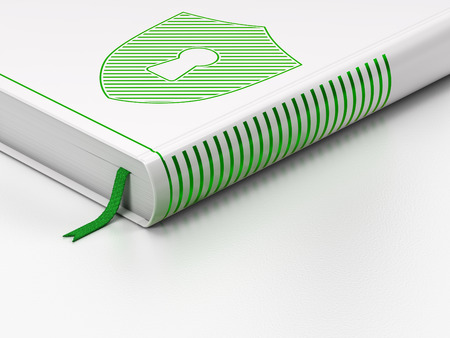 Privacy concept: closed book with Green Shield With Keyhole icon on floor, white background, 3d render photo