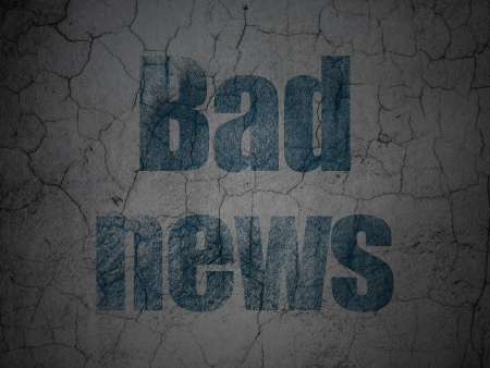 bad news: News concept: Blue Bad News on grunge textured concrete wall background, 3d render