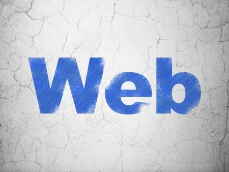 Web development concept: Blue Web on textured concrete wall background, 3d render photo