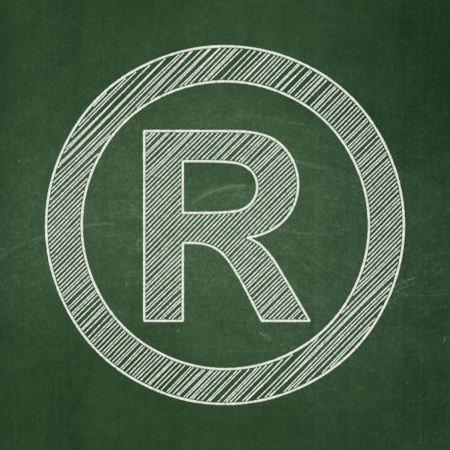 r regulation: Law concept: Registered icon on Green chalkboard background, 3d render Stock Photo