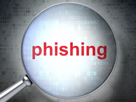 Protection concept: magnifying optical glass with words Phishing on digital background, 3d render photo