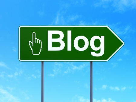 Web design concept: Blog and Mouse Cursor icon on green road (highway) sign, clear blue sky background, 3d render photo