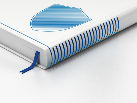 Security concept: closed book with Blue Shield icon on floor, white background, 3d render photo